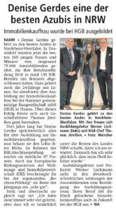 WA Artikel, Denise Gerdes eine der besten Azubis in NRW