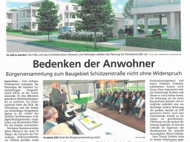 HGB | Artikel zur Bürgerversammlung | Baugebiet Schützenstraße